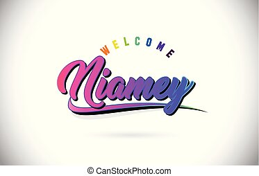 Niamey Welcome To Word Text with Creative Purple Pink...