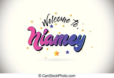 Niamey Welcome To Word Text with Purple Pink Handwritten...