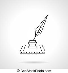 Nib and ink flat line vector icon