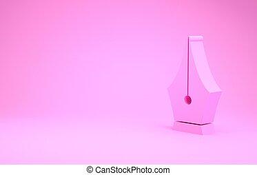 nib, pictogram, roze, minimalism, fontijn, 3d, achtergrond., illustratie, pen, werktuig, render, teken., vrijstaand, concept.