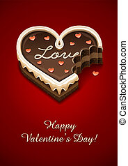 nibbled sweet chocolate cake as heart with love