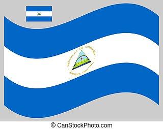 nicaragua bandera, ilustración, onda, eps, vector, 10