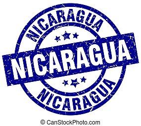 Nicaragua blue round grunge stamp