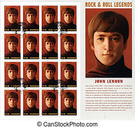 NICARAGUA - CIRCA 1995 : stamp printed in Nicaragua with singer John Lennon  from The Beatles - 1960s famous musical pop group, circa 1995