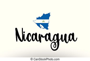 Nicaragua country big text with flag inside map concept logo