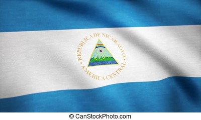 Nicaragua Country flag animation stock footage. Flag of...