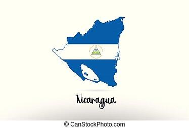 Nicaragua country flag inside map contour design icon logo