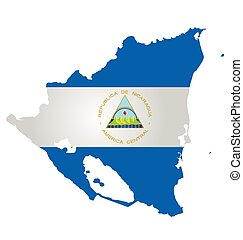 Flag of the Republic of Nicaragua overlaid on outline map isolated on white background translation of coat of arms reads Republic of Nicaragua