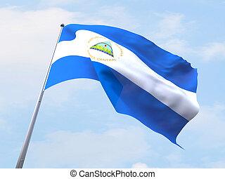 Nicaragua flag flying on clear sky.
