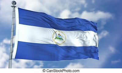 Nicaragua Flag in a Blue Sky. Use this clip loud and proud...