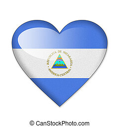 Nicaragua flag in heart shape isolated on white background