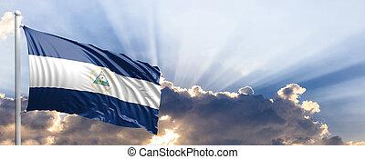 Nicaragua flag on blue sky. 3d illustration - Nicaragua...