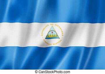 Nicaragua flag, three dimensional render, satin texture