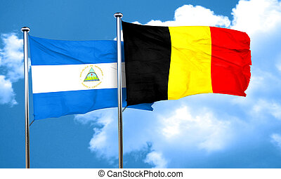 nicaragua flag with Belgium flag, 3D rendering
