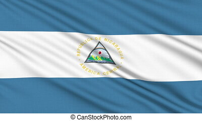 Nicaragua flag, with real structure of a fabric