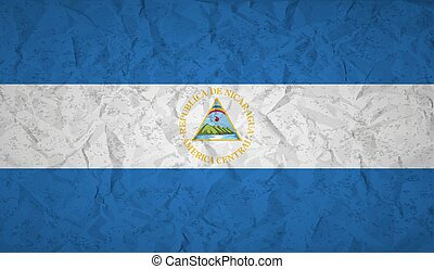 Nicaragua Flag with the effect crumpled paper and grunge