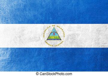 nicaragua flagg, målad, på, läder, struktur