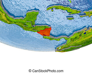 Nicaragua in red on Earth model