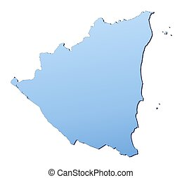 Nicaragua map filled with light blue gradient. High ...