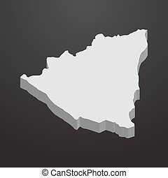Nicaragua map in gray on a black background 3d