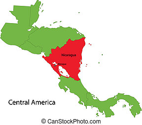 Nicaragua map - Location of Nicaragua on Central America