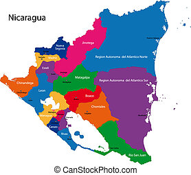 Nicaragua map - Map of the Republic of Nicaragua with the...