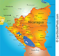 nicaragua - Vector color map of Nicaragua country