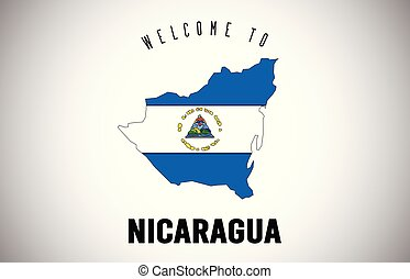 Nicaragua Welcome to Text and Country flag inside Country border Map Vector Design.
