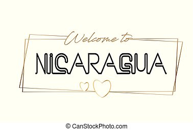 Nicaragua Welcome to text Neon lettering typography. Word for logotype, badge, icon, postcard, logo, banner Vector Illustration.