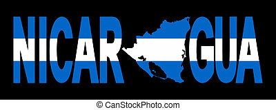 Nicaragua with map on flag - Nicaragua text with map on flag...