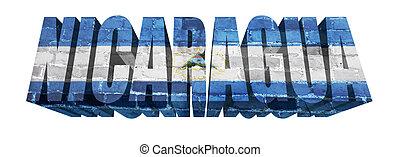 Nicaragua Word - National Flag of Nicaragua on the word of a...