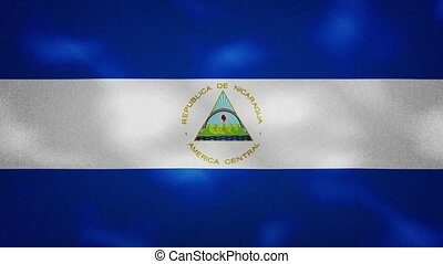 Nicaragua dense flag fabric wavers, perfect loop for background