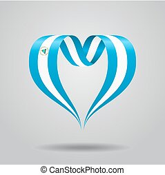 Nicaraguan flag heart-shaped ribbon. Vector illustration. -...