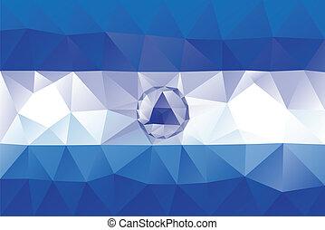 Nicaraguan flag - triangular polygonal vector pattern