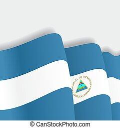 Nicaraguan waving Flag. Vector illustration. - Nicaraguan...
