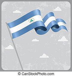 Nicaraguan wavy flag. Vector illustration. - Nicaraguan flag...