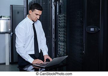 Nice adult man typing