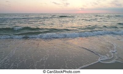 aerial view of sandy beach at sunset - nice aerial view of...