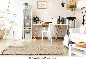 Nice and cozy workspace in modern boho style