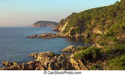 Nice bay landscape in a Spanish coastal, Costa Brava