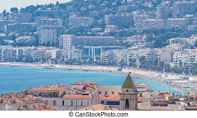 Nice beach day landscape aerial top view timelapse, France....