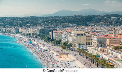 Nice beach day landscape aerial top view timelapse, France.