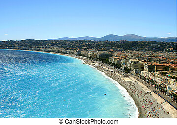 Nice beaches - overhead view of beaches in Nice, France