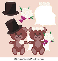 nice bears bridegroom and bride vector illustration