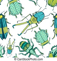 Nice beetle pattern - Beautiful vector pattern with nice ...