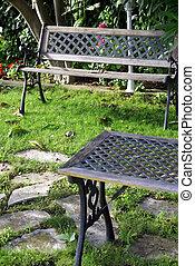Nice bench in a peaceful garden