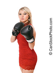 Nice blond woman in boxing gloves