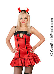 Nice blonde is wearing a devil costume