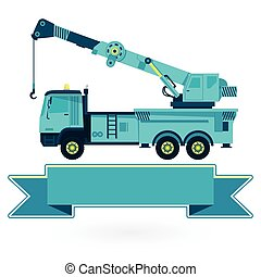 Nice blue big crane with hook and arm on white. Construction...