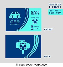 nice blue car workshop business card design